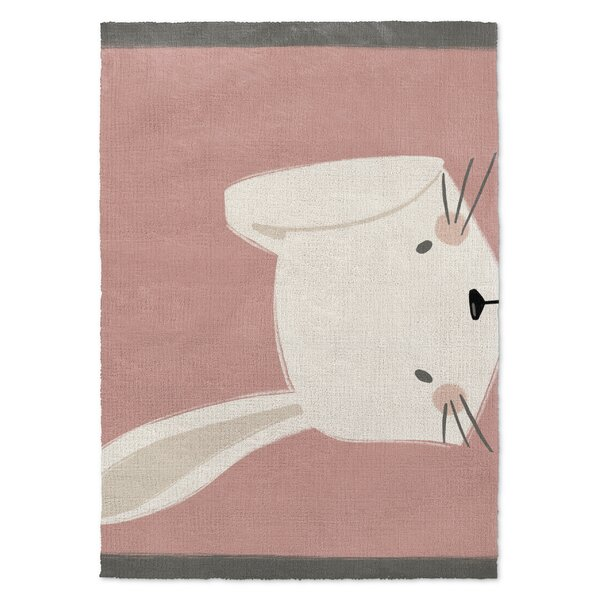 Alland Bunny Pink/White Area Rug by Harriet Bee