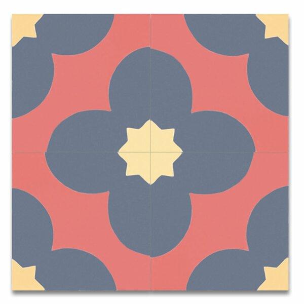 Granada 8 X 8 Cement Tile in Multicolor by Moroccan Mosaic
