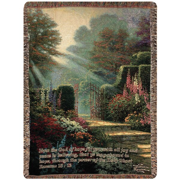 Garden of Grace Verse Tapestry Cotton Throw by Manual Woodworkers & Weavers