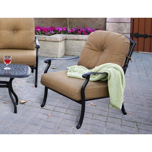 Lenahan Patio Chair with Cushion (Set of 4) by Alcott Hill