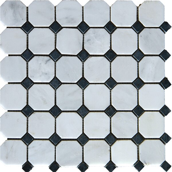Arabescato Carrara 2 x 2 Octagon & Dot Marble Mosaic Tile by MSI