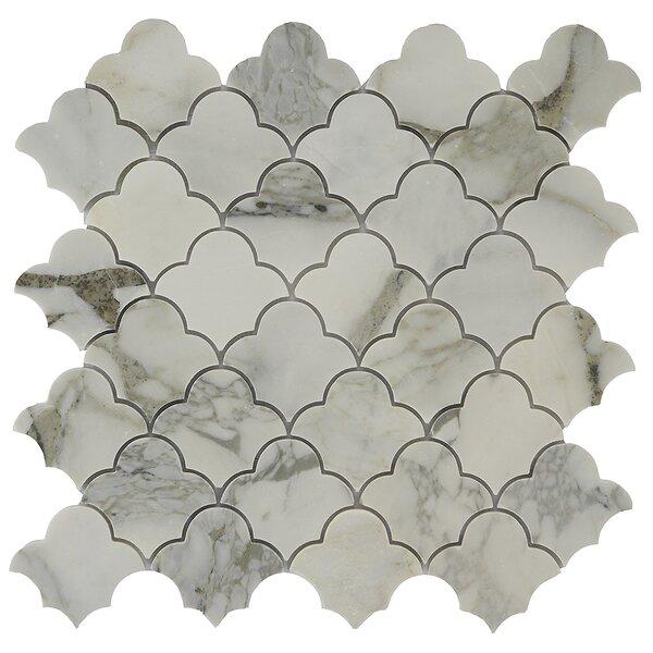 Antelope Cloudia 2 x 2 Marble Mosaic Tile in White/Tan by Byzantin Mosaic