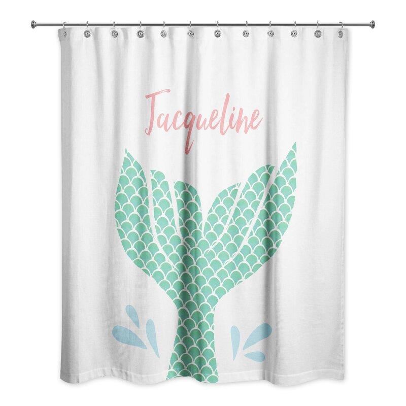 Bon Jena Personalized Mermaid Tail Shower Curtain