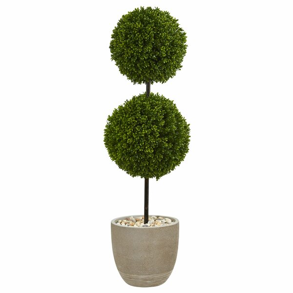 Double Ball Artificial Floor Boxwood Topiary in Planter by 17 Stories