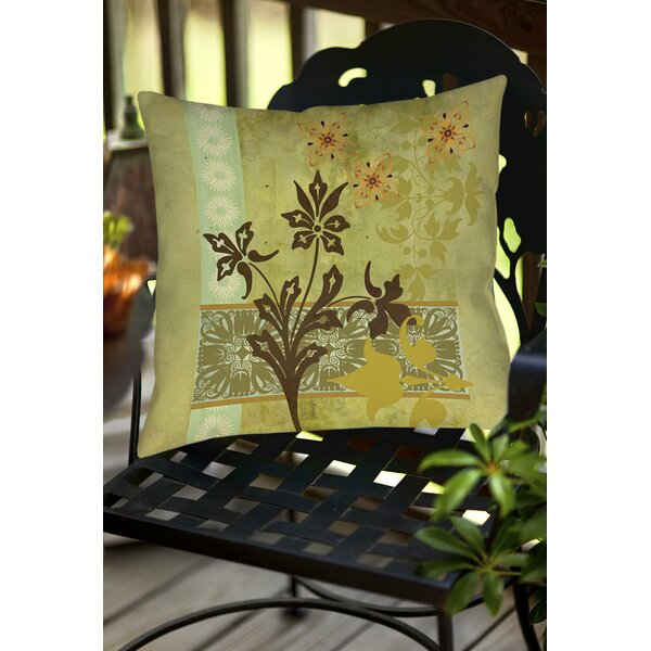 Collage Blossoms Indoor/Outdoor Throw Pillow by Manual Woodworkers & Weavers