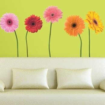 Room Mates Deco 25 Piece Gerber Daisies Wall Decal