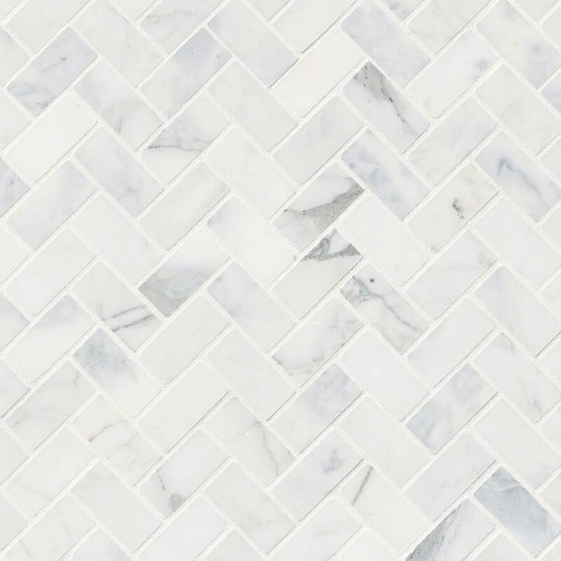 Msi Calacatta Cressa Herringbone Honed Marble Mosaic Tile In White Amp Reviews Wayfair