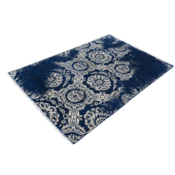 One-of-a-Kind Dorn Hand-Knotted Wool Blue/Ivory Area Rug by Isabelline