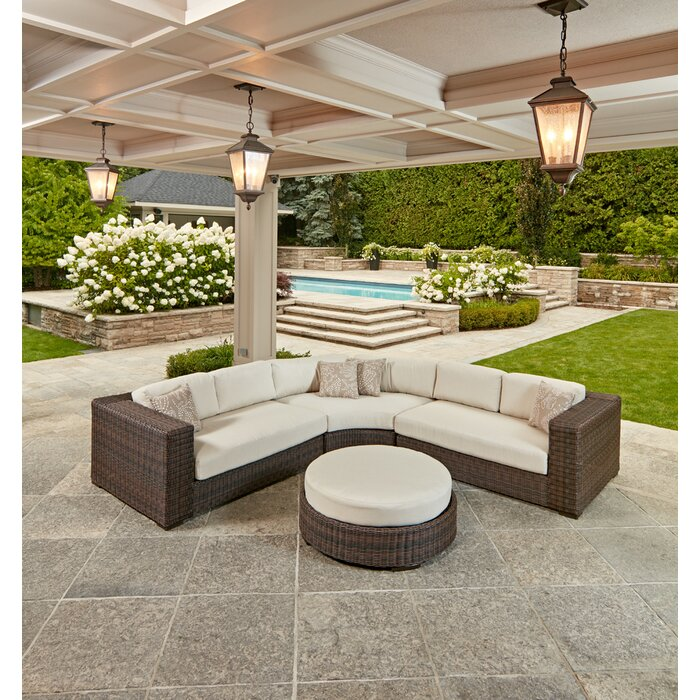 Mission 4 Peice Crescent Sectional with Sunbrella Cushions : sectional cushions - Sectionals, Sofas & Couches