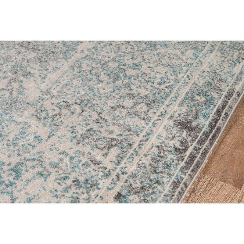Mistana Danny Abstract Turquoise Dark Gray Ivory Area Rug