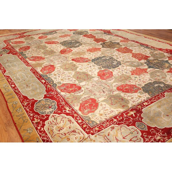 One-of-a-Kind Agra Hand-Knotted Before 1900 Ivory 11'7 x 15'6 Wool Area Rug