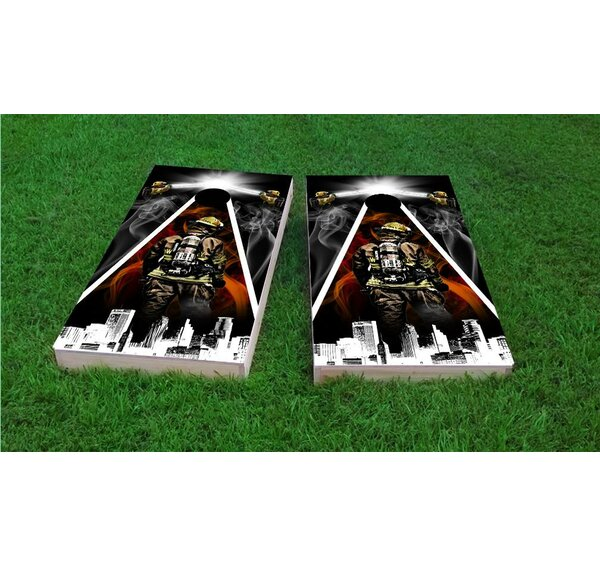Firefighter City Scape Cornhole Game Set by Custom Cornhole Boards