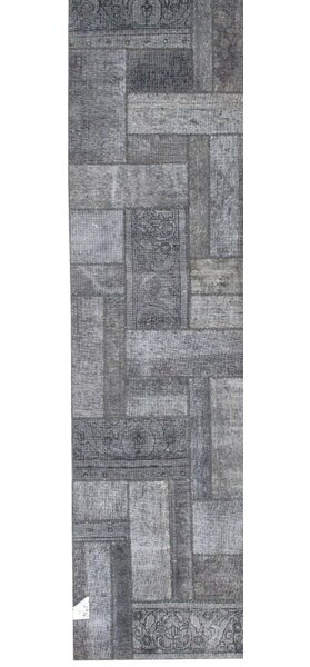Patchwork Hand Knotted Wool Gray Area Rug by Pasargad