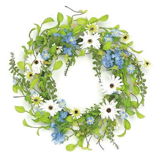 22 Hydrangea and Wild Daisy Artificial Floral Wreath by Northlight Seasonal