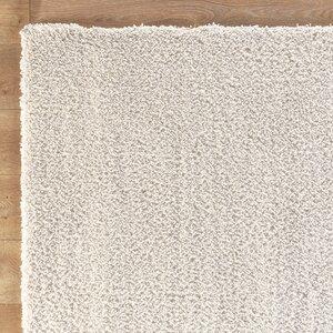 Shaggy Hand-Wovenv White Area Rug