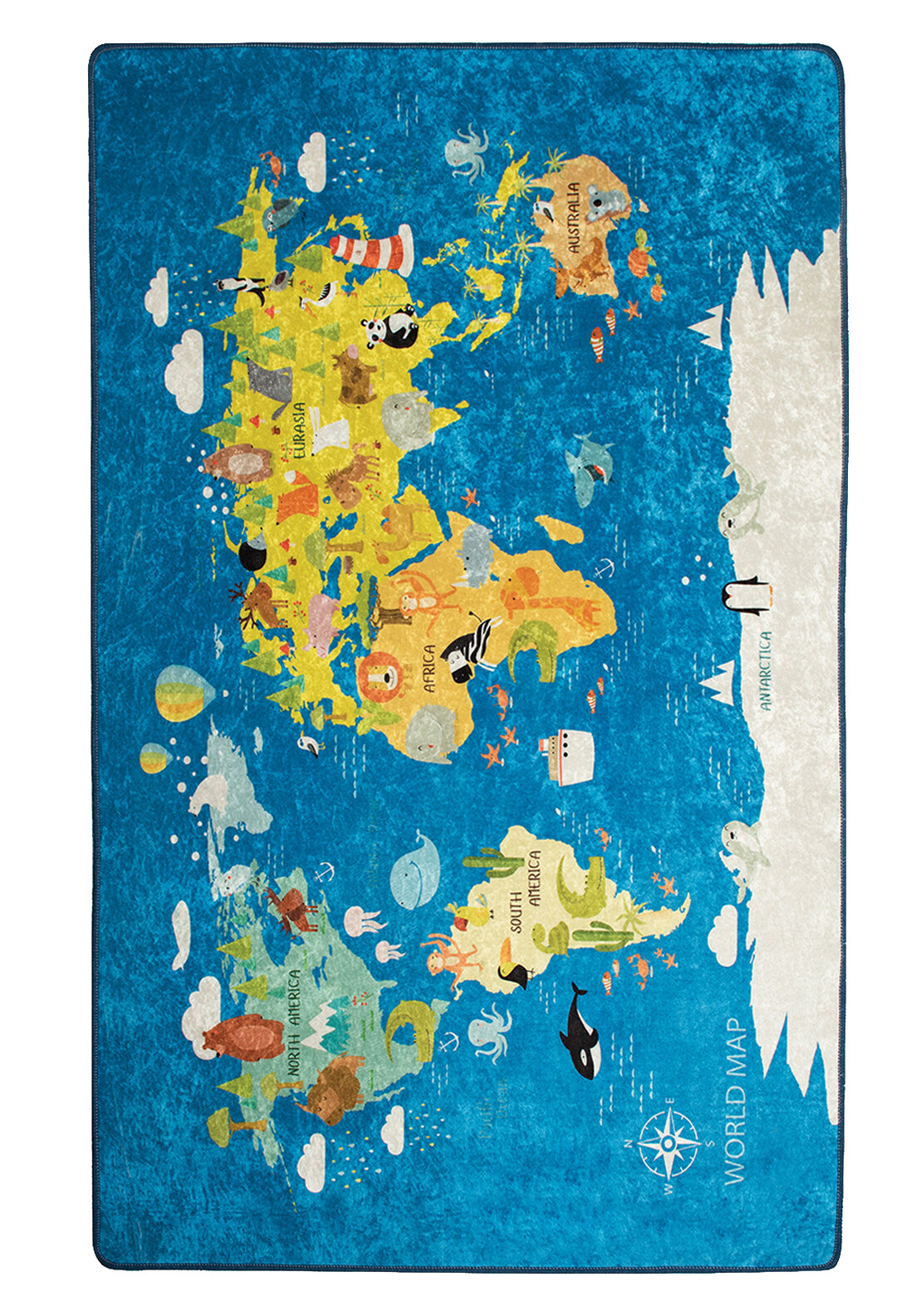 Zoomie Kids Rowles World Map Blue