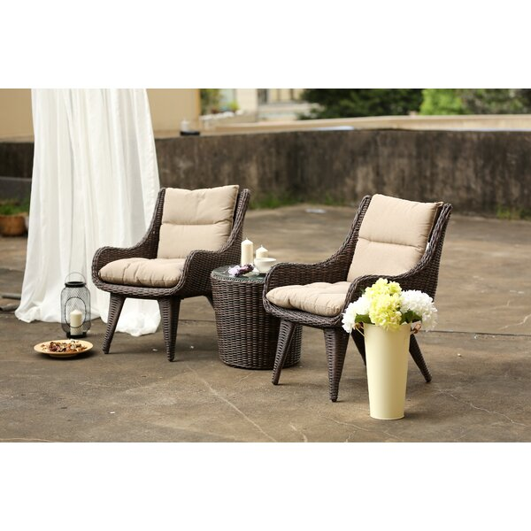 Eloi Cupertino 3 Piece Rattan Seating Group with Cushions