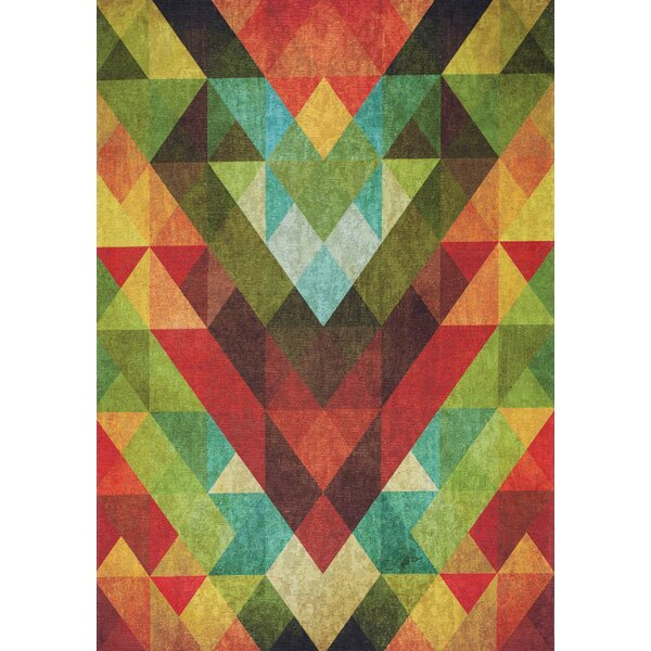 Ludovic Colorful Diamond Flying Pattern Red/Green Area Rug by Brayden Studio
