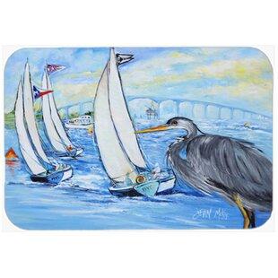 Heron Sailboats Dog River Bridge Glass Cutting Board ByCaroline's Treasures