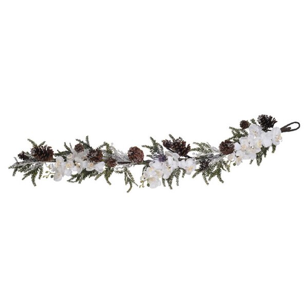 Artificial Iced Phalaenopsis Orchid / Pine Garland by House of Silk Flowers Inc.