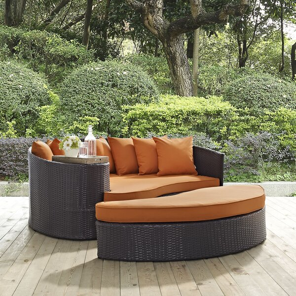 Ryele Outdoor Patio Daybed with Cushions by Latitude Run