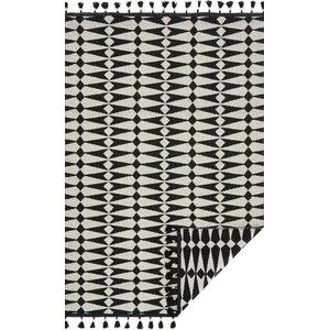 Kahelo Hand-Woven Black/Ivory Area Rug