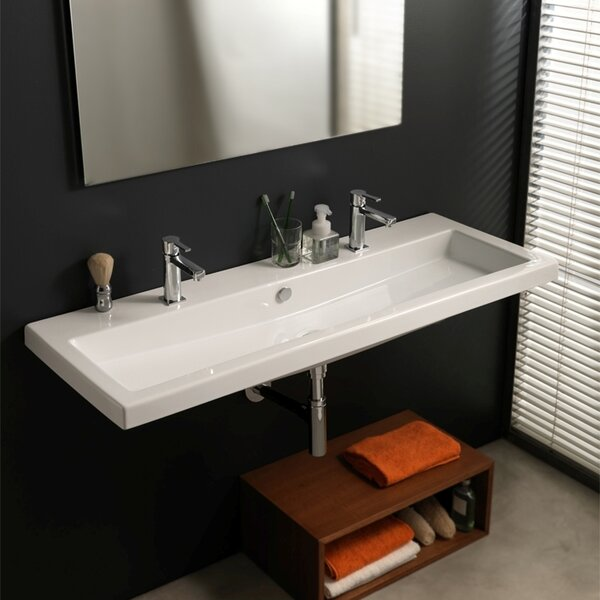 Cangas Ceramic 48 Wall Mount Bathroom Sink with Overflow by Ceramica Tecla by Nameeks