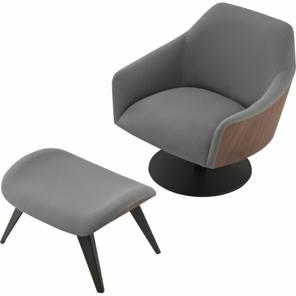 Henry Swivel Lounge Chair and Ottoman by Modloft Black