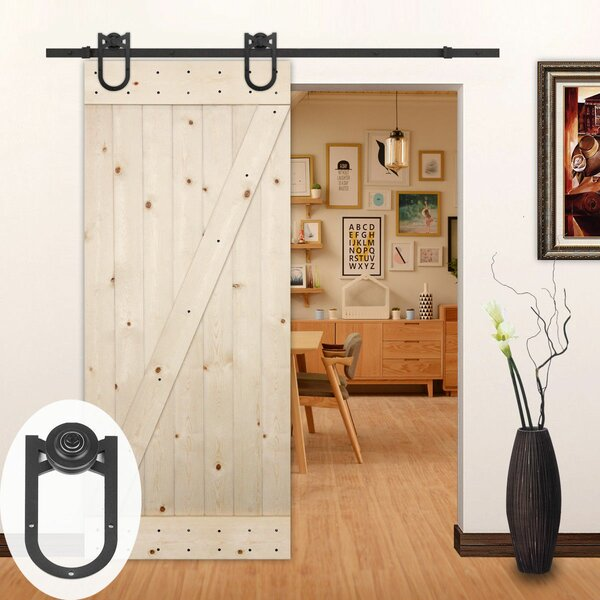 American Horseshoe Wood Sliding Track Kit Barn Door Hardware by Lubann