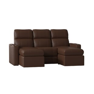 Best  Contemporary Leather Home Theater Sofa (Row of 3) (Set of 3) Red Barrel Studio