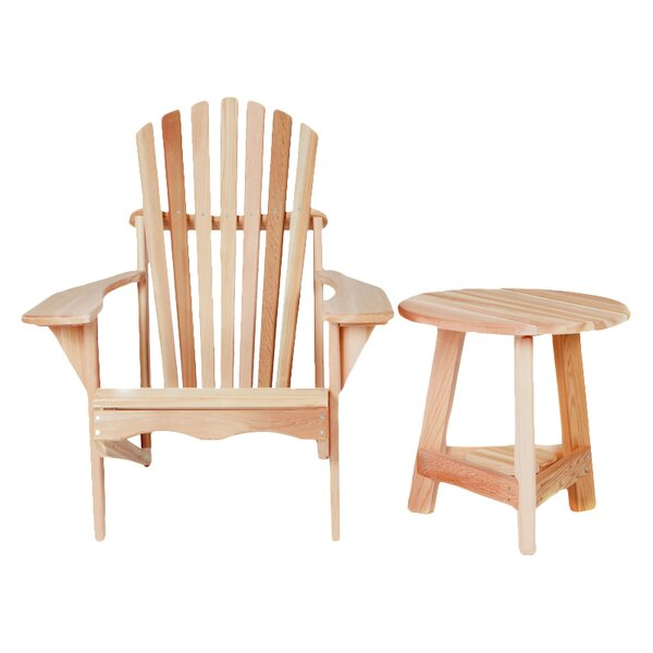 Western Red Cedar Tripod Wood Adirondack Chair with Table by All Things Cedar