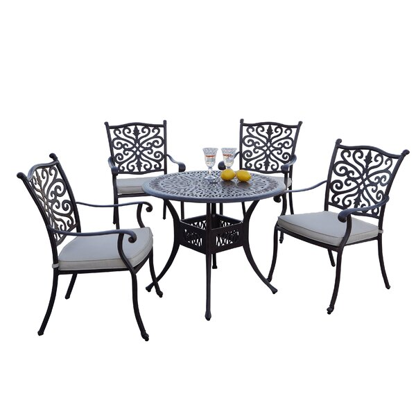 Burk 5 Piece Dining Set with Cushions by Canora Grey