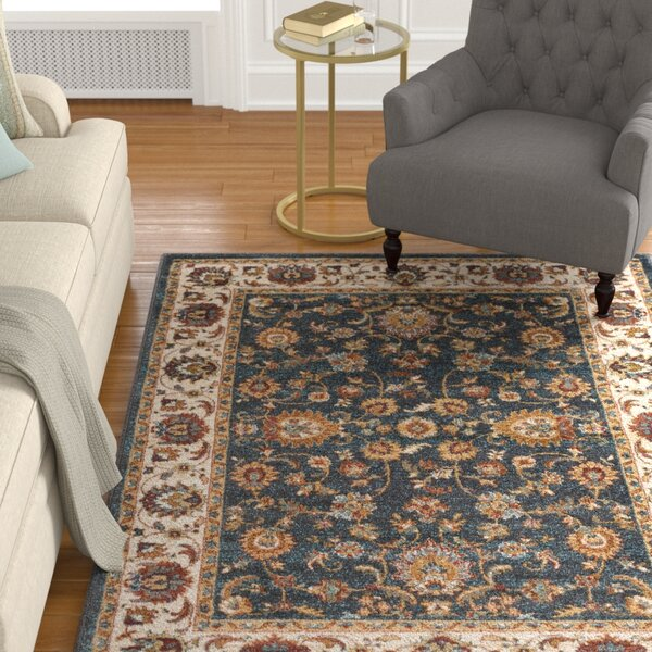 Eady Charcoal/Teal Area Rug by Charlton Home