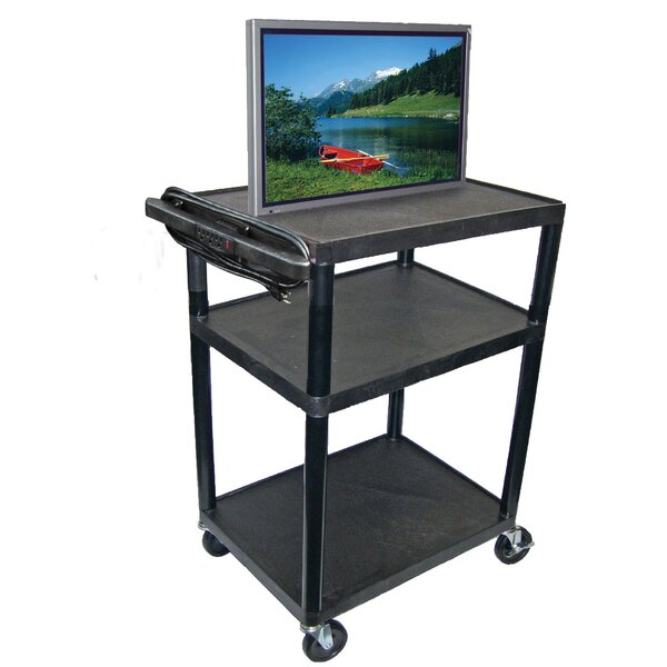 High Low Priced Open Shelf Table AV Cart with Electric by Luxor