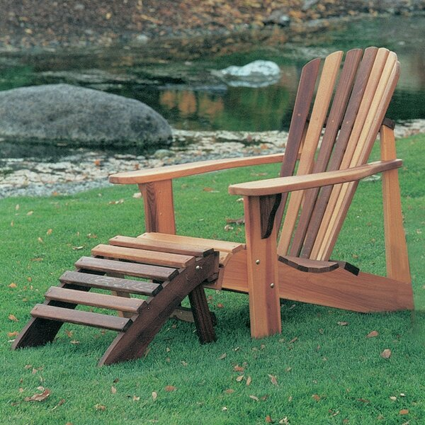 T&L Solid Wood Adirondack Chair with Ottoman by Wood Country
