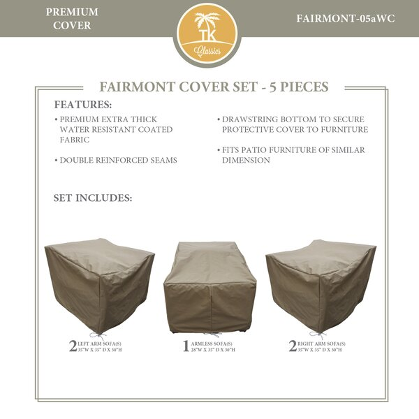 Fairmont Protective 5 Piece Water Resistant Patio Furniture Cover Set by TK Classics