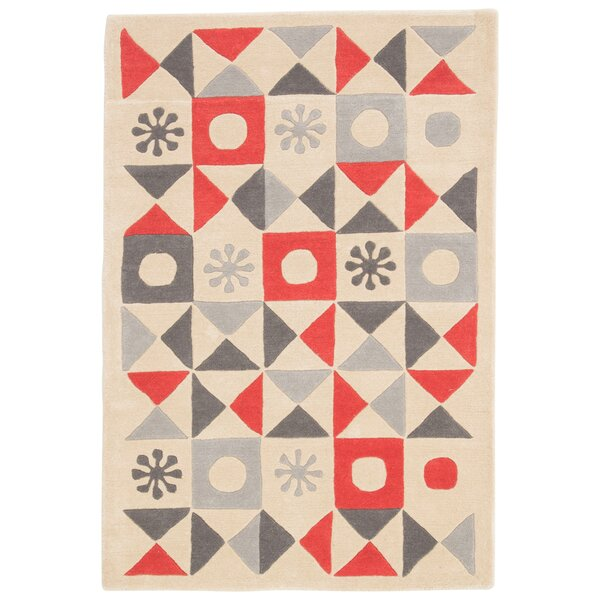 Keiko Hand-Tufted Ivory/Red Area Rug by Viv + Rae