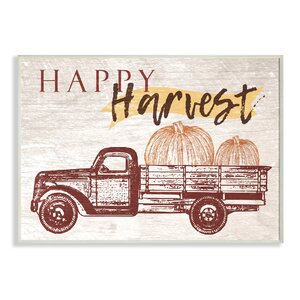 'Happy Harvest Giant Pumpkin Truck' Graphic Art Print by August Grove