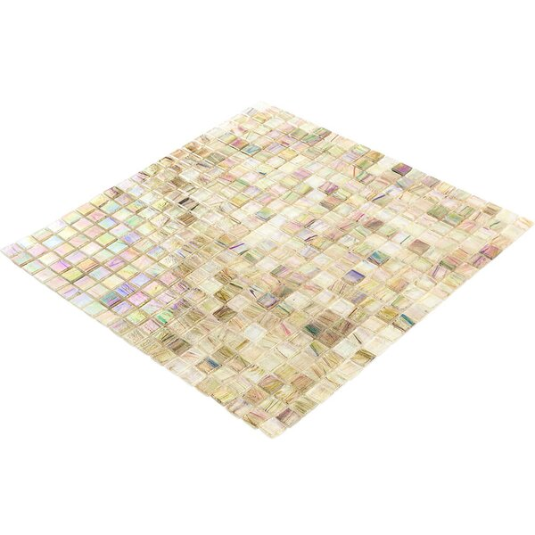 Breeze 0.62 x 0.62 Glass Mosaic Tile in Green/Yellow/Brown by Splashback Tile