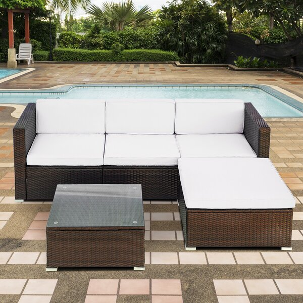 Jeannine Outdoor 3 Piece Rattan Sectional Seating Group with Cushions by Bay Isle Home