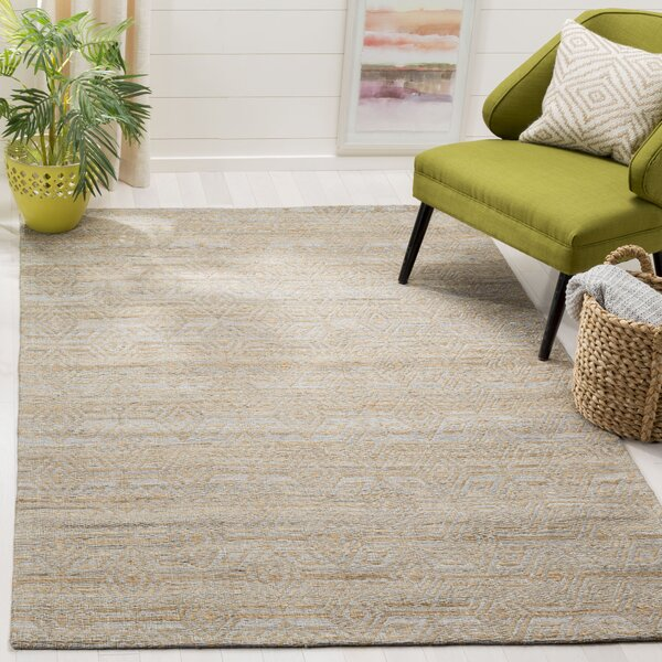Aderyn Hand-woven Gray/Sand Area Rug by Highland Dunes