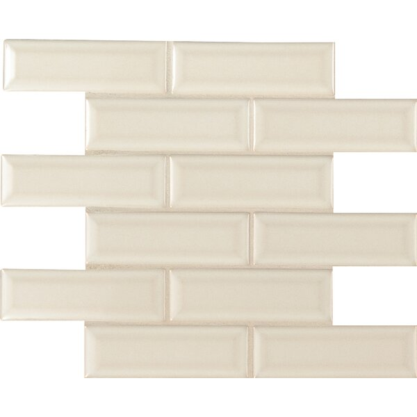 Antique White 2 x 6 Beveled Ceramic Mosaic Tile in Beige by MSI