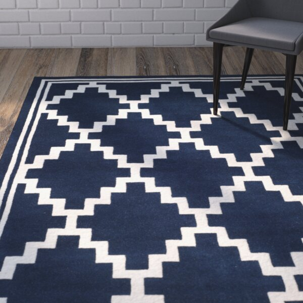Wilkin Wool Navy/Ivory Area Rug by Wrought Studio