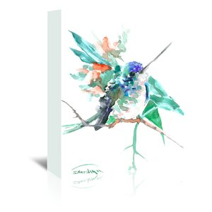 Turquoise Blue Hummingbird Painting Print on Wrapped Canvas by East Urban Home