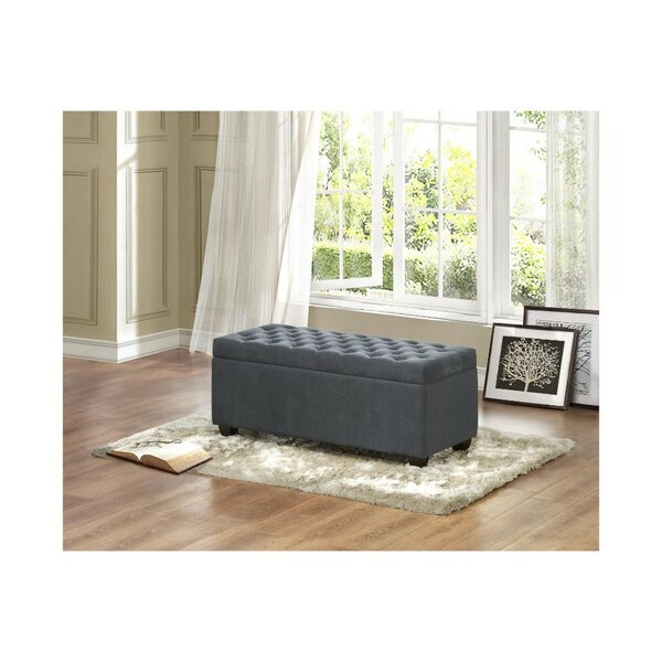 Burger Lift-up Upholstered Storage Bench by Benzara