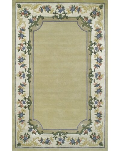 Beautiful Yellow/Ivory Border Pale Floral Border Area Rug by American Home Rug Co.