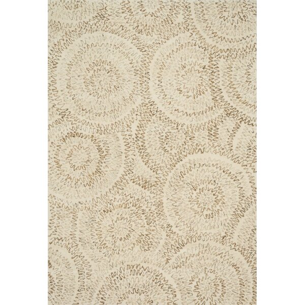 Zager Hand-Tufted Wool Ivory Area Rug by Bloomsbury Market