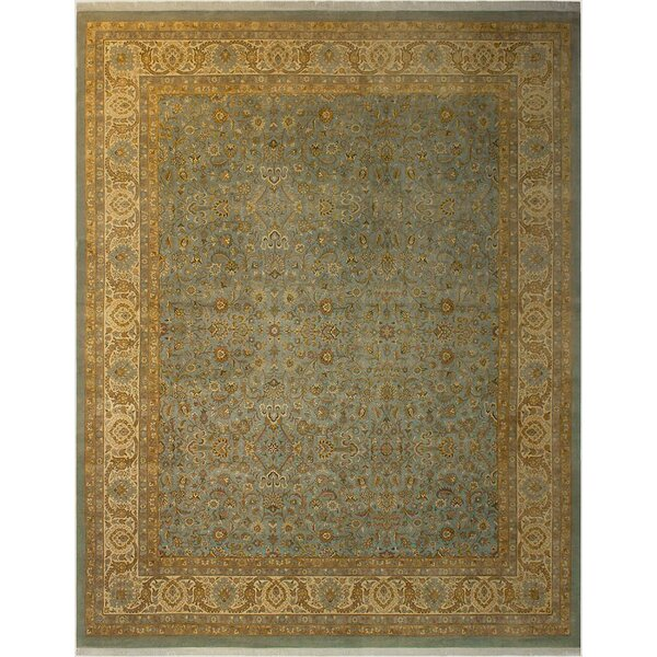One-of-a-Kind Abagail Turkish Hand-Knotted Wool Blue/Beige Area Rug by Isabelline