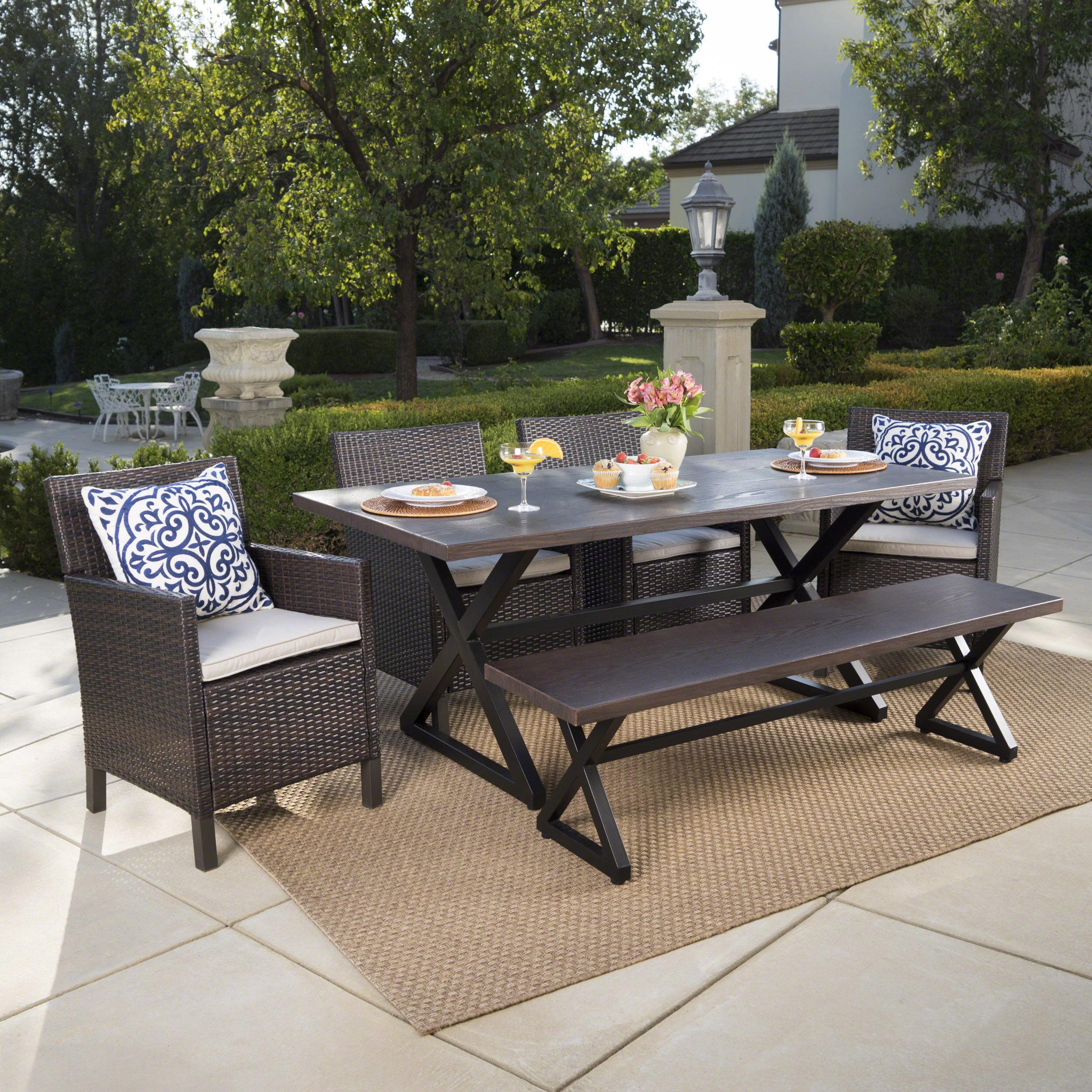 Brayden Studio Sands Outdoor 6 Piece Dining Set With Cushions U0026 Reviews |  Wayfair