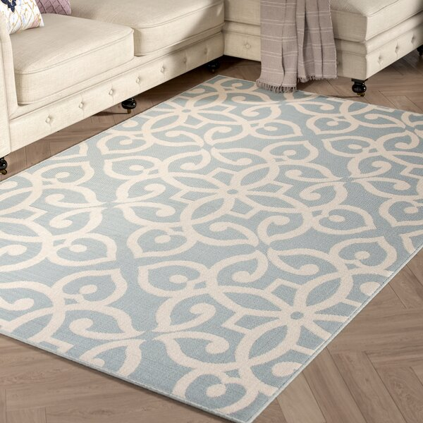 Charlena Hand-Hooked Blue/Cream Indoor/Outdoor Area Rug by Willa Arlo Interiors